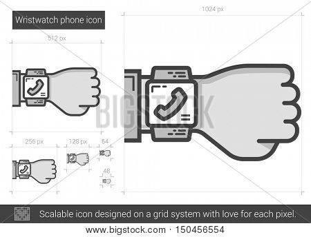 Wristwatch phone vector line icon isolated on white background. Wristwatch phone line icon for infographic, website or app. Scalable icon designed on a grid system.
