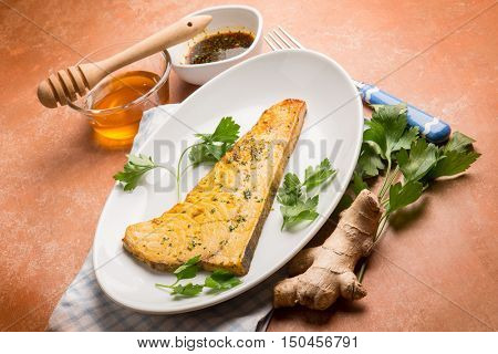 sword fish marinated with soy sauce ginger and honey