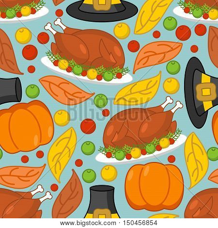 Thanksgiving Background. Roasted Turkey And Fresh Pumpkin. Pilgrim Hat And Autumn Leaves. Traditiona