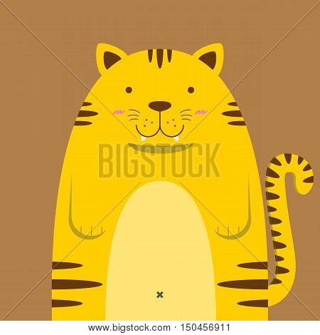 cute big fat tiger on brown background