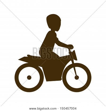 man biker riding a red motorcycle with red helmet. extreme sport. vector illustration