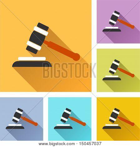 Illustration of auction colorful design set icons