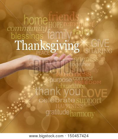 Celebrate Thanksgiving. Hands with thanksgiving text in gold background