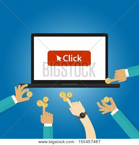 pay per click ads bidding auction buying traffics website PPC advertising vector