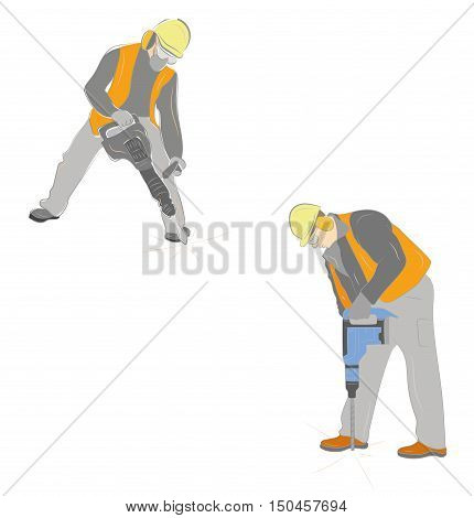 a set of worker with pneumatic hammer drill equipment isolated on white. vector illustration