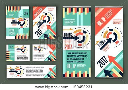 Colorful business stationary template vector, cover presentation, business geometric background, modern roll up x-banner and web header - stock vector