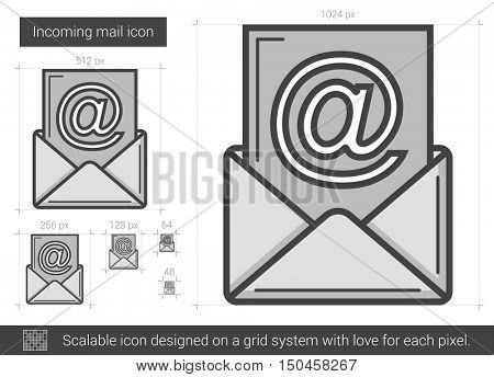 Incoming mail vector line icon isolated on white background. Incoming mail line icon for infographic, website or app. Scalable icon designed on a grid system.