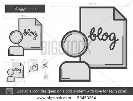 Blogger vector line icon isolated on white background. Blogger line icon for infographic, website or app. Scalable icon designed on a grid system.