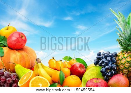Large collection of fruits and vegetables on a blue sky background. Healthy food. Copy Space for your text.