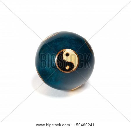 Old yin yang chinese ball for relaxation on white background. Clipping path.