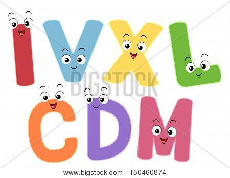 Colorful Illustration Featuring Smiling Mascots Representing the Roman Numerals