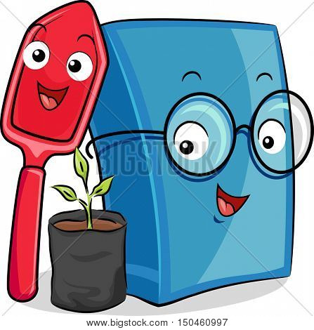 Mascot Illustration of a Happy Shovel and a Blue Book Standing Beside a Seedling