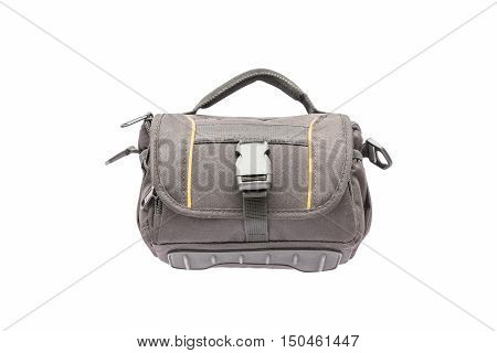 Small camera bag on white background with clipping path