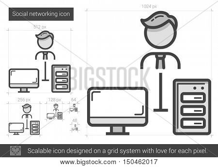 Social networking vector line icon isolated on white background. Social networking line icon for infographic, website or app. Scalable icon designed on a grid system.