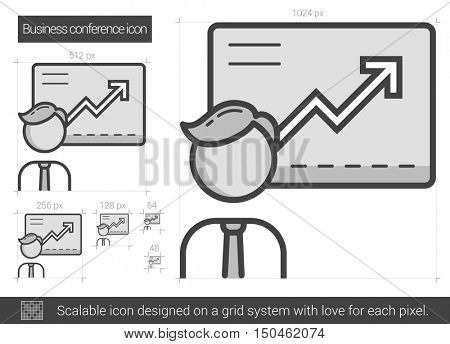 Business conference vector line icon isolated on white background. Business conference line icon for infographic, website or app. Scalable icon designed on a grid system.