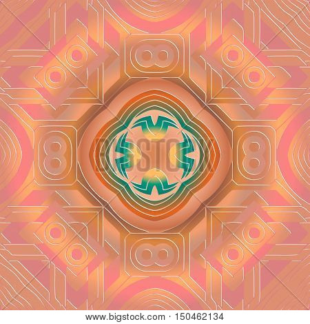 Background with abstract orange concentric pattern ornament of green and yellow color