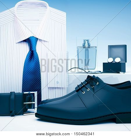 Men's accessories and men's shoes are located on a light gray background. 3D illustration