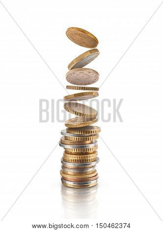 Money Financial Business Growth concept money coins stack and flying coins