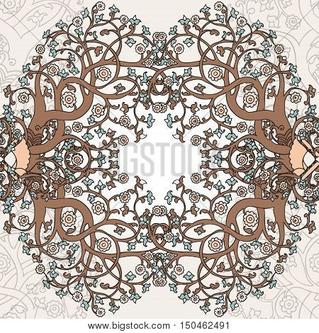 Seamless pattern with hand drawn blooming trees in orient style, vector illustration