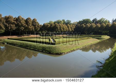ornamental park in Kleve in Germany with moat