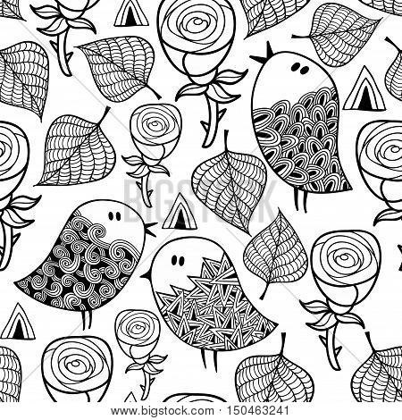 Black and white seamless pattern with birds and design elements. Vector endless background for coloring.