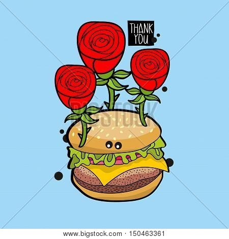 Crazy hamburger portrait with red roses. Vector illustration for greeting card cover.