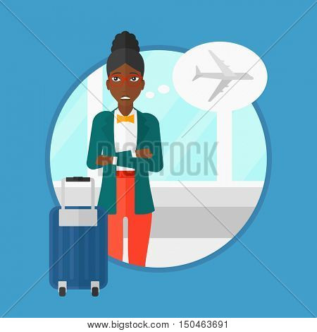 An african-american young woman frightened by future flight. Woman standing at the airport and suffering from fear of flying. Vector flat design illustration in the circle isolated on background.