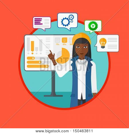 African-american businesswoman pointing at charts on a board during presentation. Woman giving business presentation. Business presentation in progress. Vector flat design illustration in the circle.