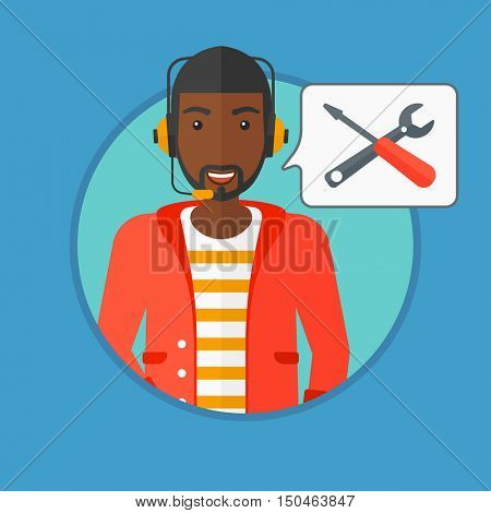 An african-american operator of technical support wearing headphone set. Operator and speech square with screwdriver and wrench. Vector flat design illustration in the circle isolated on background.
