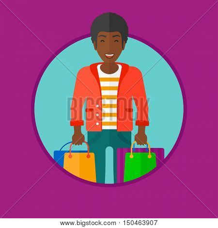 An african-american cheerful man holding shopping bags. Happy young man carrying shopping bags. Man with a lot of shopping bags. Vector flat design illustration in the circle isolated on background.