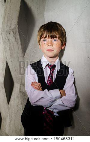 Emotive portrait of red-haired freckled boy actor portfolio childhood concept