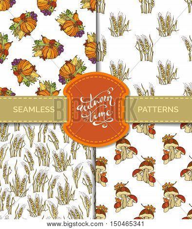 Vector Set Of Seamless Autumn Patterns.
