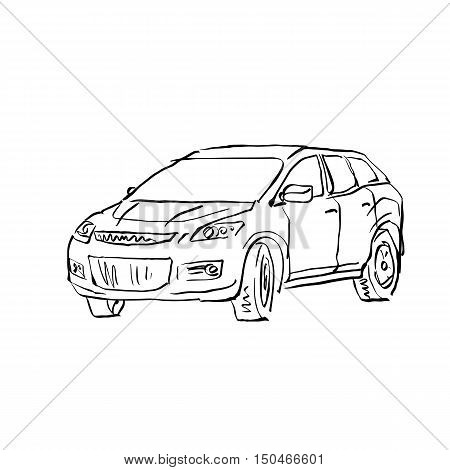 Black and white hand drawn car on white background illustrated hatchback.