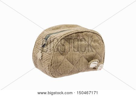 Cosmetic Bag isolated on white background with clipping path