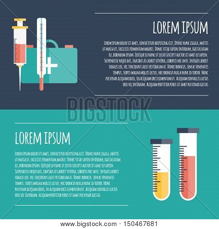 Vector illustration with flat cartoon medical background. First aid kit syringe test-tube thermometer. Medical equipment. Template for infographic card poster. Healthcare and health exams concept