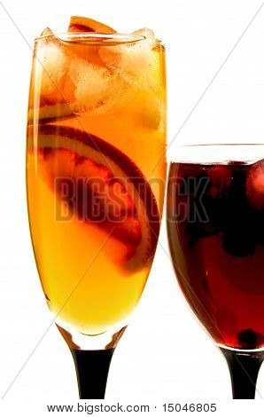 Fruit cocktail in glass glasses