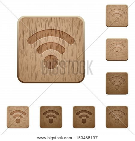 Set of carved wooden radio signal buttons in 8 variations.