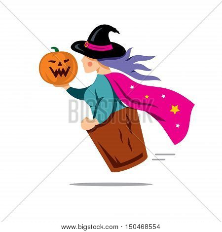 Wizard flies in a wooden mortar. Isolated on a white Background