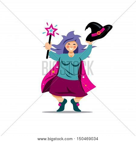 Wizard waving his hat and stick. Isolated on a white Background