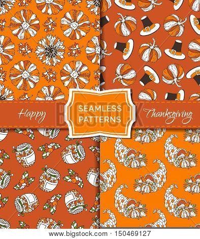 Vector Set Of Seamless Orange Thanksgiving Patterns.