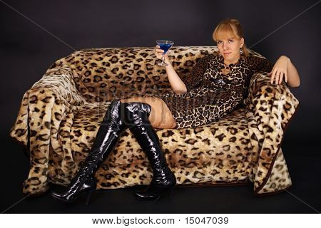 Woman Lying On Couch - Leopard Theme