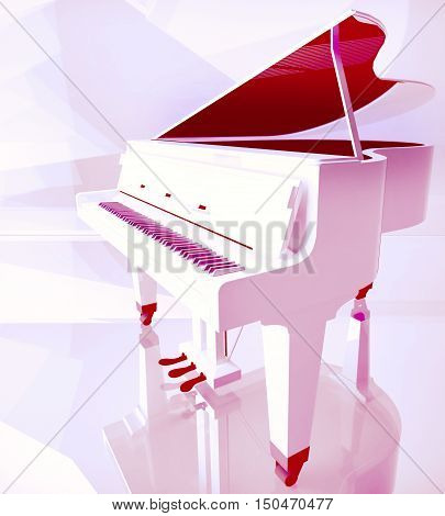 Piano keys on white piano. 3D illustration