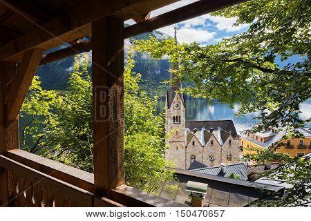 Church in the center of Hallstatt Austria