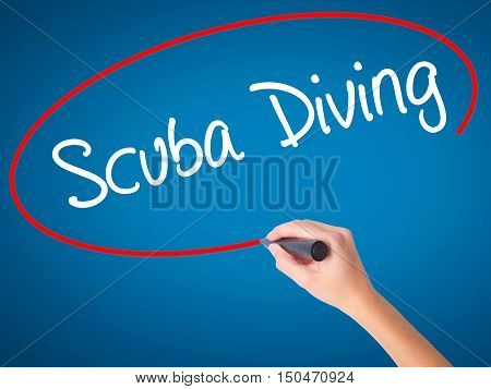 Women Hand Writing Scuba Diving With Black Marker On Visual Screen