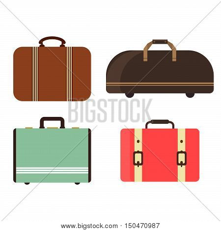 Summer time travel bag set. Trip baggage tourism vacation insulated travel bag vector set. Business handle leather retro journey suitcase travel bag voyage holiday tourist luggage.