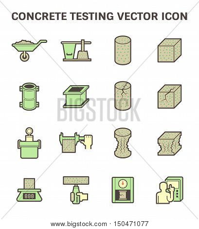 Concrete testing vector icon set design, flat and color style.