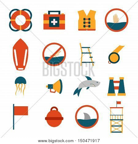 Vector flat cartoon beach lifeguard beach objects: buoy shark medusa lifebuoy life vest whistle. Vector lifeguard icons. Emergence survival security beach nautical objects. Summer icons