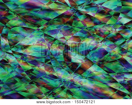 Carnival abstract vector color background. Bright fragments, gamma green