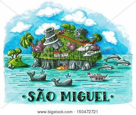 Hand drawn bright marker illustration of tropical Sao Miguel island (Portugal) with volcanoes whales dolphins and hand lettering. This image can be used as a print on t-shirts and bags stationary or as a poster.