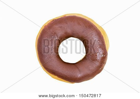 Chocolate donuts isolatedwith clipping path.Fast Foods high in energy.